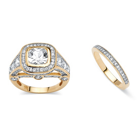 2 Piece 4.67 TCW Cubic Zirconia Bridal Ring Set 18k Gold-Plated