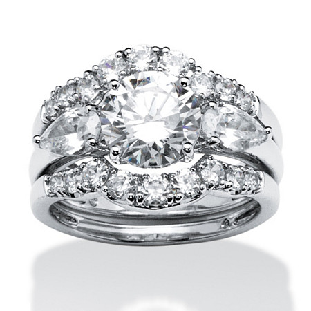 3.45 TCW Round and Pear-Cut Cubic Zirconia 2 Piece Ring Set in Platinum over Sterling Silver