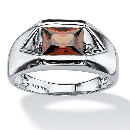 Men's 1.51 TCW Red Cubic Zirconia Ring with Cubic Zirconia Accents in Platinum over Sterling Silver