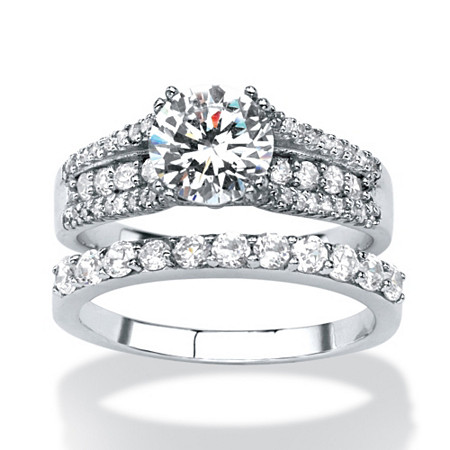 2 Piece 3.31 TCW Round Cubic Zirconia Bridal Ring Set in Platinum over Sterling Silver
