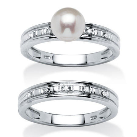 2 Piece Freshwater Pearl and Diamond Accent Bridal Ring Set in Platinum over Sterling Silver