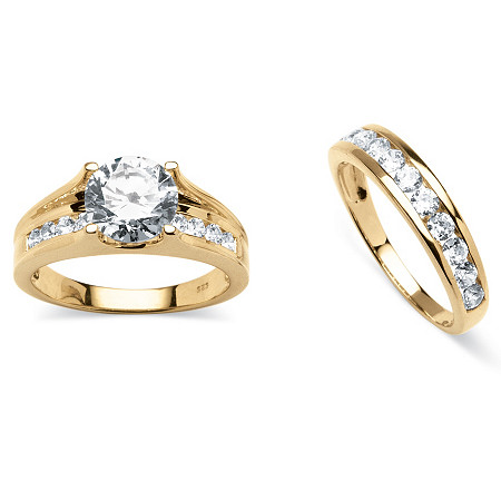 3.08 TCW Round Cubic Zirconia 2 Piece Bridal Ring Set in 18k Gold over Sterling Silver