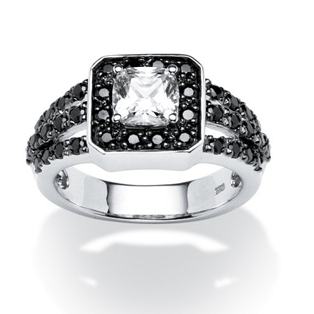 1.72 TCW Black and White Cubic Zirconia Ring in Platinum over Sterling Silver