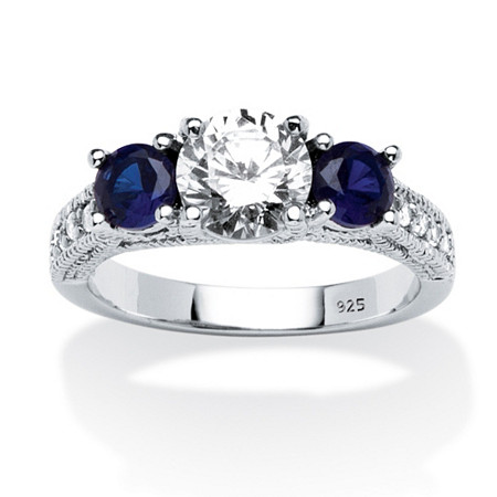 1.65 TCW Cubic Zirconia and Sapphire Ring in Sterling Silver
