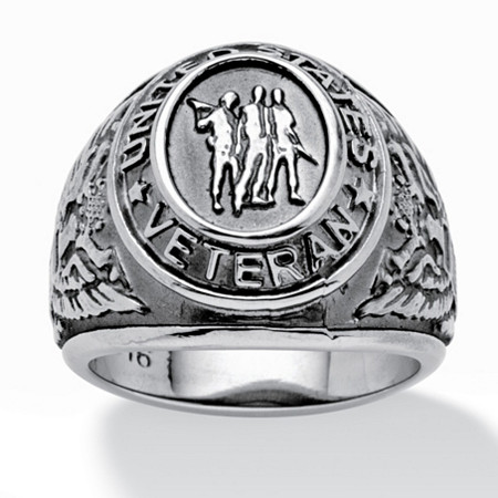 Men's Veteran Signet Ring in Stainless Steel