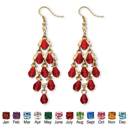 Birthstone Teardrop Chandelier Earrings in Yellow Gold Tone