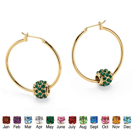 Birthstone Bead Hoop Earrings in Yellow Gold Tone