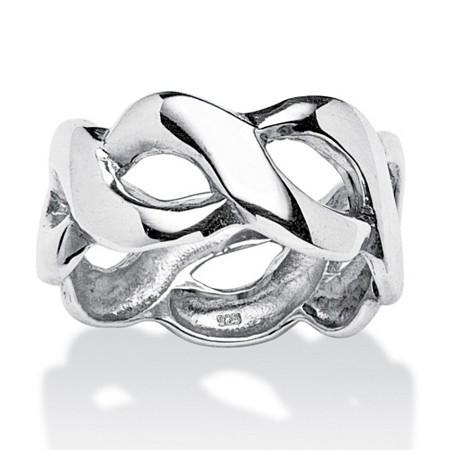 Link Style Ring in Sterling Silver