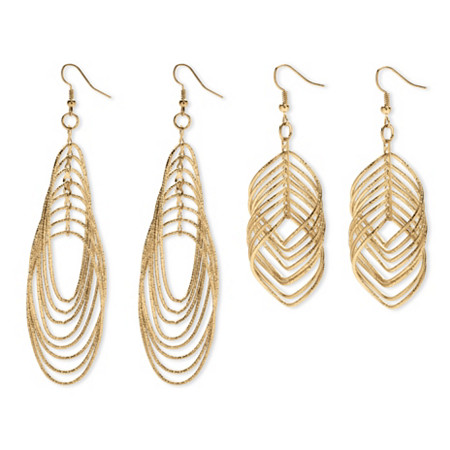 2 Pairs of Multi-Chain Drop Earrings Set in Yellow Gold Tone