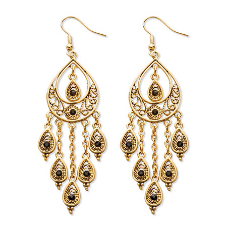 Black Crystal Teardrop and Chain Dangle Chandelier Earrings in Yellow Gold Tone