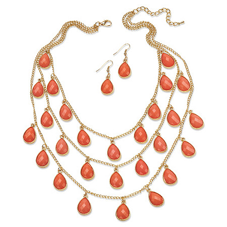 2 Piece Coral Checkerboard-Cut Cabochon Jewelry Set in Yellow Gold Tone
