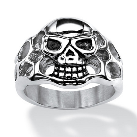 Men's Openwork Skull Ring in Antiqued Stainless Steel