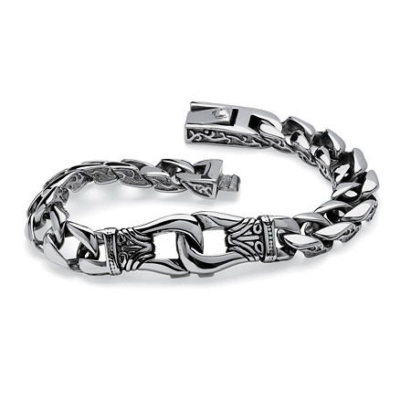 Men's Tribal Design Link Bracelet in Stainless Steel