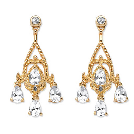 4.22 TCW Pear-Cut White Topaz Chandelier Earrings in 18k Gold-Plated