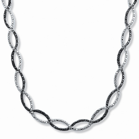 1/5 TCW Black and White Diamond Necklace in Silvertone 17