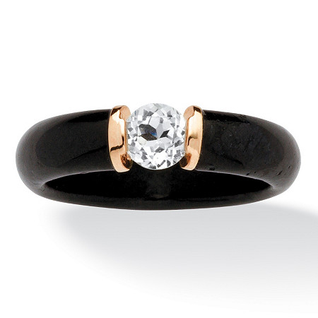 .56 TCW Black Jade and White Topaz Ring in 10k Gold