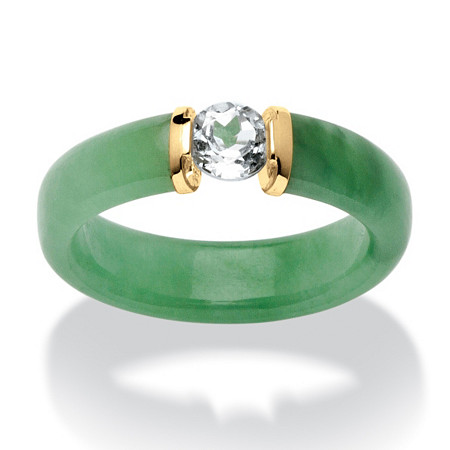 .56 TCW White Topaz and Jade Ring in 10k Gold