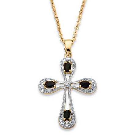1.41 TCW Oval-Cut Midnight Sapphire and Diamond Accent Cross Necklace 18k Gold over Sterling Silver