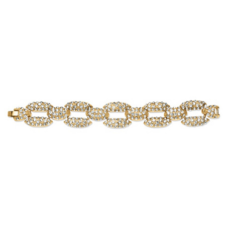 Pave Crystal Panther Link Bracelet in Yellow Gold Tone