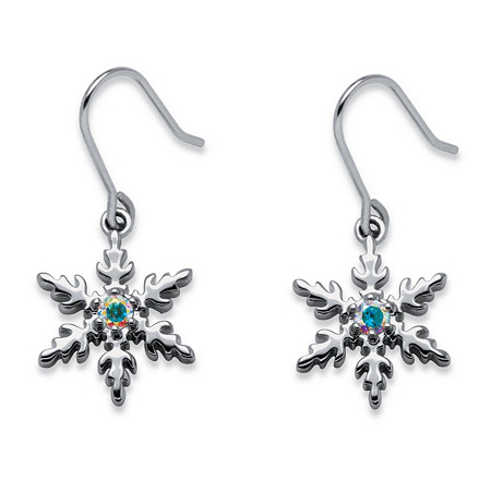 .20 TCW Aurora Borealis Cubic Zirconia Snowflake Drop Earrings in Silvertone
