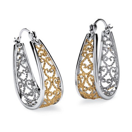 Filigree Rope Hoop Earrings in Silvertone and Yellow Gold Tone