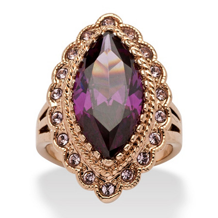 7.94 TCW Marquise-Cut Purple Cubic Zirconia Cocktail Ring in Rose Ion-Plated