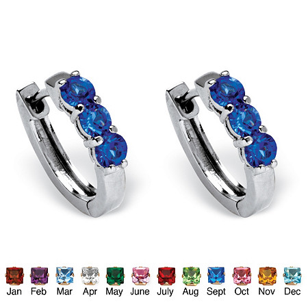 Birthstone Huggie Hoop Earrings in Platinum-Plated