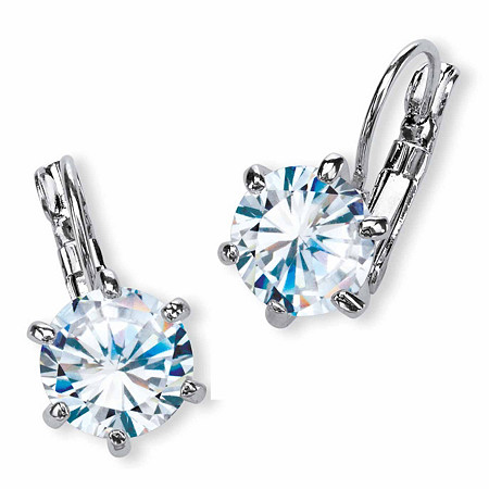 8 TCW Round Cubic Zirconia Drop Earrings in Platinum-Plated
