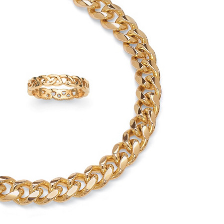 Curb Link Chain in Yellow Gold Tone and FREE Circle Ring in Gold Ion Plated