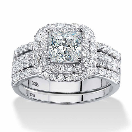 3 Piece 2.14 TCW Princess-Cut Cubic Zirconia  Bridal Ring Set in Platinum over Sterling Silver