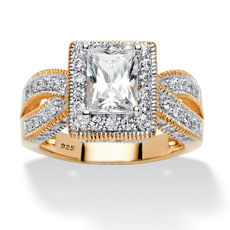 2.02 TCW Emerald-Cut Cubic Zirconia Milgrain Double Shank Ring in 18k Gold over Sterling Silver