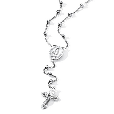 Rosary-Style Beaded Necklace in Sterling Silver