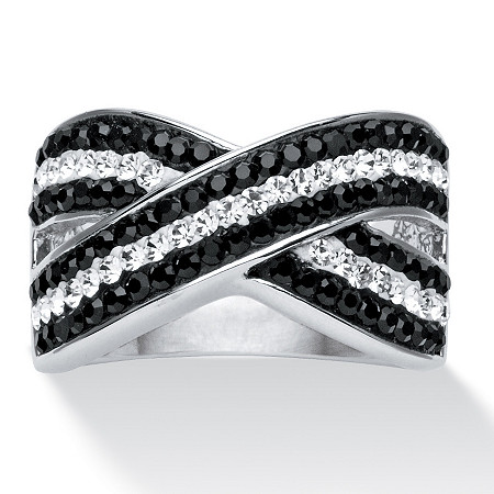 Pave Jet Black and Crystal Crossover Ring Made with SWAROVSKI ELEMENTS in Platinum-Plated