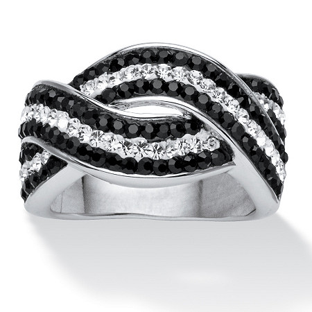 Pave Jet Black and White Crystal Twisting Crossover Ring Made with SWAROVSKI ELEMENTS