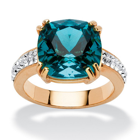 Cushion-Cut Denim Blue Crystal Ring Made with SWAROVSKI ELEMENTS
