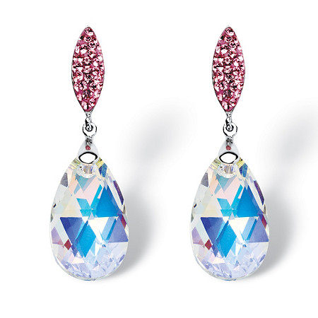 Pear-Cut Aurora Borealis Crystal Drop Earrings Made with SWAROVSKI ELEMENTS in Silvertone