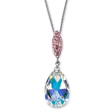 Pear-Cut Aurora Borealis Crystal Pendant Necklace Made with SWAROVSKI ELEMENTS in Silvertone