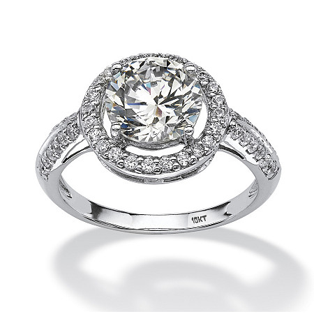 2.38 TCW Round Cubic Zirconia Halo Ring in 10k White Gold