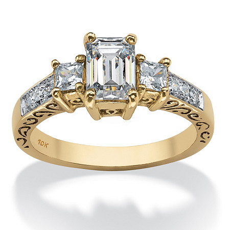 1.27 TCW Emerald-Cut Cubic Zirconia Scroll in 10k Gold