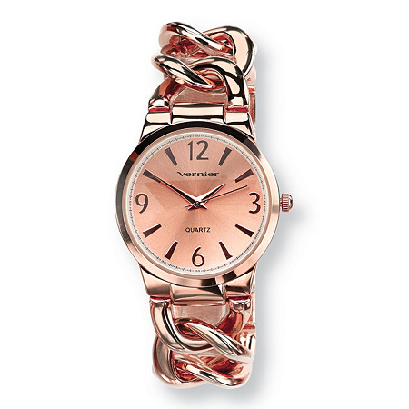 Vernier Curb-Link Watch in Rose-Gold Plated