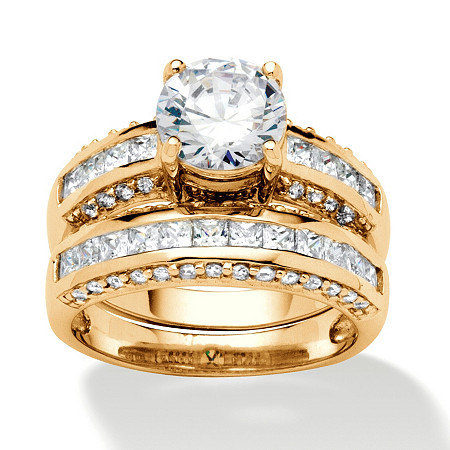 2 Piece 2.86 TCW Round Cubic Zirconia Bridal Ring Set in 18k Gold over Sterling Silver