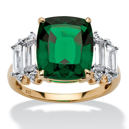 5.36 TCW Emerald-Cut Emerald and Cubic Zirconia Ring in 18k Gold over Sterling Silver