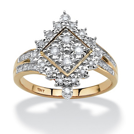 1/4 TCW Round Diamond Geometric Ring in 10k Gold