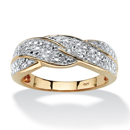 1/10 TCW Round Diamond Braid Ring in 10k Gold