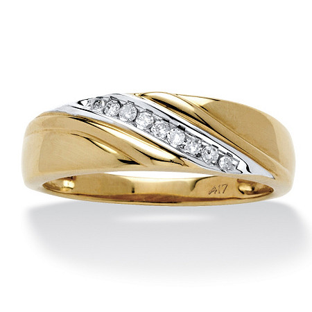 Men's 1/8 TCW Round Diamond Wave Ring in 10k Gold