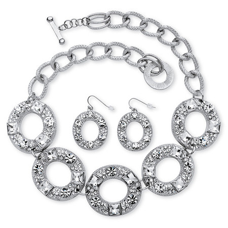 2 Piece Crystal Circle Necklace and Earrings Set in Silvertone