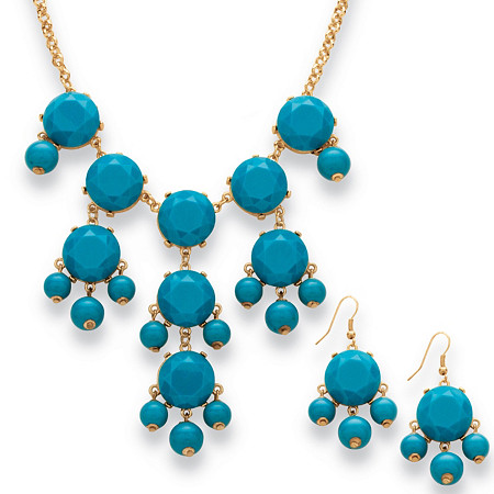 2 Piece Aqua Bubble Beaded Necklace and Earrings Set in Yellow Gold Tone