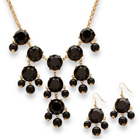 2 Piece Black Bubble Beaded Necklace and Earrings Set in Yellow Gold Tone