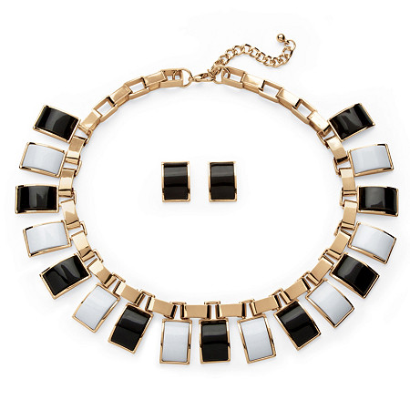 2 Piece Black and White Necklace and Earrings Set in Yellow Gold Tone