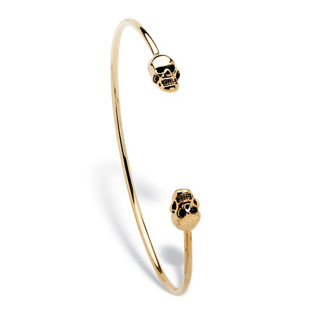 Skull Crystal Open Bracelet in 14k Gold-Plated